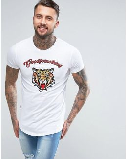 T-shirt In White With Embroidered Tiger