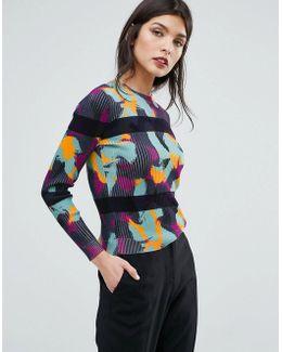 Swirl Print Stripe Sweater