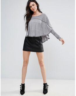 Zip Vegan Leather Mini Skirt