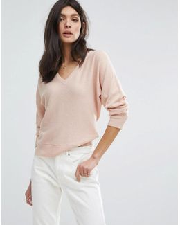 Wool Cashmere V Neck Batwing Sweater