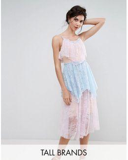 Allover Premium Lace Tiered Midi Dress