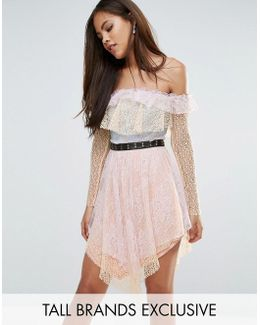 All Over Premium Lace Off Shoulder Tiered Mini Dress With Metal Belt