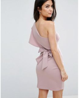 One Shoulder Scuba Ruffle Detail Dress With A Bow Tie Back Detail
