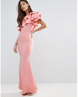 Bridesmaid One Shoulder Ruffle Detail Maxi Dress