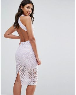 Lace Midi Dress With Open Back