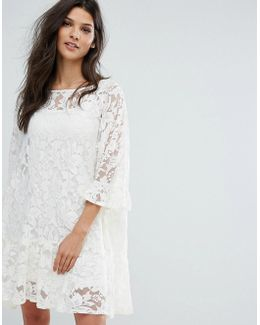 Lace Frill Hem Smock Dress