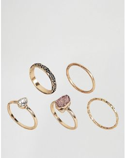 Pack Of 5 Stone Etched Ring Pack