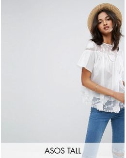 Embroidered Lace Insert Top
