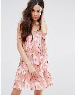 Floral Printed Plisse Slip Dress