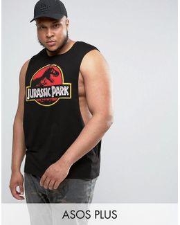 Plus Jurassic Park Sleeveless T-shirt With Extreme Dropped Armhole