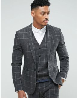 Super Skinny Suit Jacket In Charcoal Windowpane Check