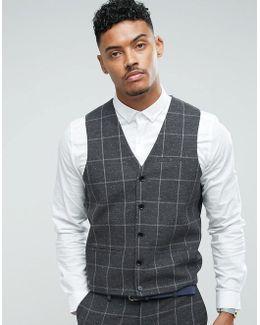 Super Skinny Waistcoat In Charcoal Windowpane Check
