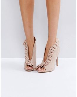 Port Ruffle Peep Toe High Heels