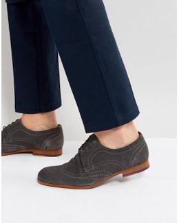 Granet Suede Brogue Shoes In Grey