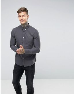 Brewer Slim Fit Oxford Shirt In Charcoal