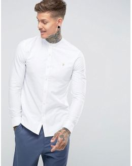 Brewer Slim Fit Grandad Oxford Shirt In White