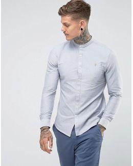 Brewer Slim Fit Grandad Oxford Shirt In Light Gray