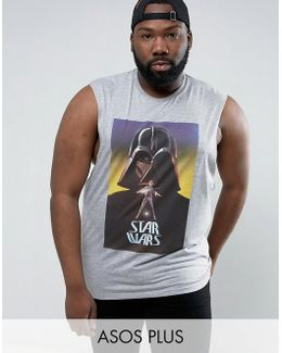Plus Star Wars Sleeveless T-shirt With Dropped Armhole And Darth Vader Print