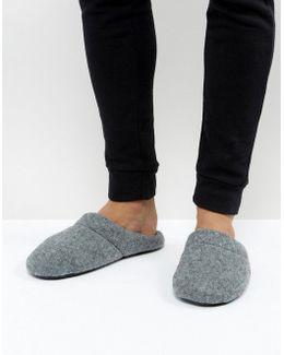 Slip On Slippers In Grey Marl