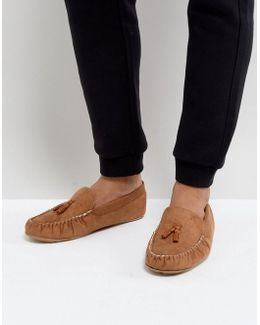 Slippers In Tan With Faux Shearling Lining