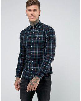 Oldman Slim Fit Twill Check Shirt In Navy