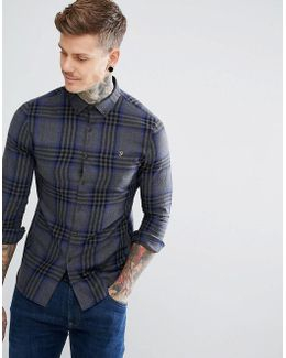 Port Slim Fit Brushed Check Shirt In Gray