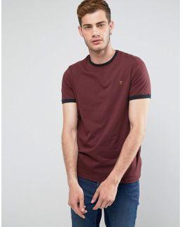 Groves Slim Fit Ringer T-shirt In Red