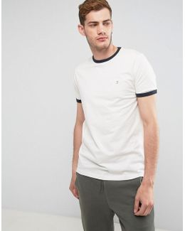 Groves Slim Fit Ringer T-shirt In Cream