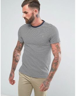 Vyner Slim Fit Thin Striped T-shirt In Navy
