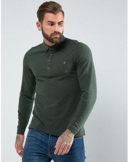 Merriweather Slim Fit Long Sleeve Pique Polo Shirt In Green