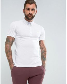 Merriweather Slim Fit Pique Polo Shirt In White