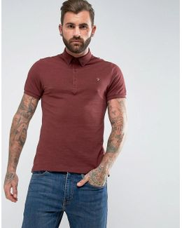 Merriweather Slim Fit Pique Polo Shirt In Burgundy