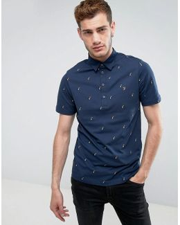 Foliot Slim Fit Polo With Ditsy Print In Blue