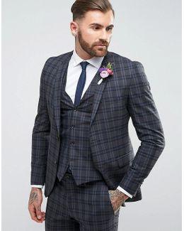 Premium Skinny Wedding Suit Jacket In Check