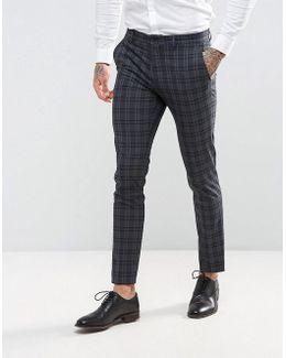 Premium Skinny Wedding Suit Pant In Check
