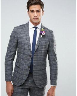 Premium Slim Wedding Suit Jacket In Check