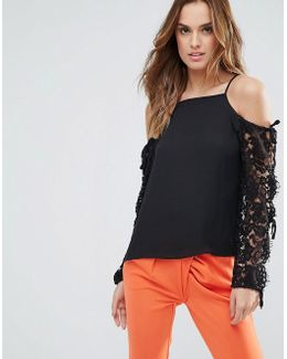 Cold Shoulder Long Laced Sleeve Top