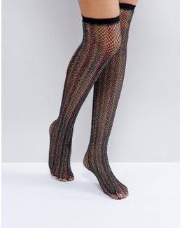 Multi Colored Glitter Fishnet Over The Knee Socks