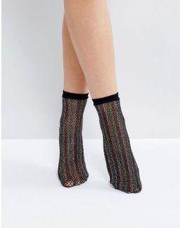 Multi Colored Glitter Fishnet Ankle Socks