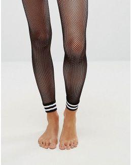 Stripe Cuff Footless Fishnet Tights