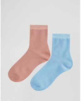 2 Pack Glitter Ankle Socks
