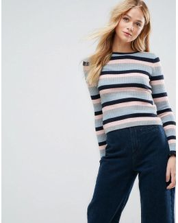 Jumper In Stripe Rib With Ruffle