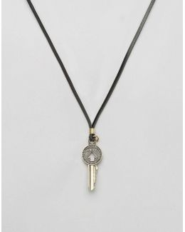 A-open The Door Necklace In Black Leather