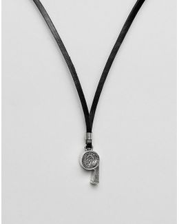 A-stopp Necklace In Leather In Black Leather