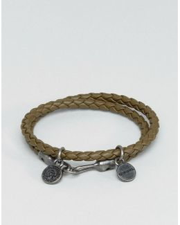 A-lucy Wrap Leather Bracelet In Olive