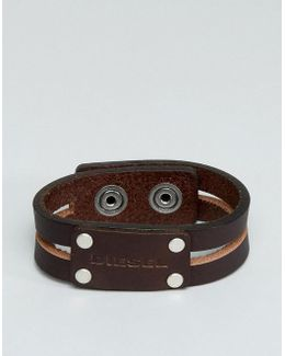 A-quotte Leather Cuff Bracelet In Brown