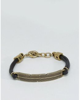 A-plume Leather Bracelet In Back / Gold