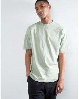 Oversized T-shirt With High Neck And Cut And Sew Seams