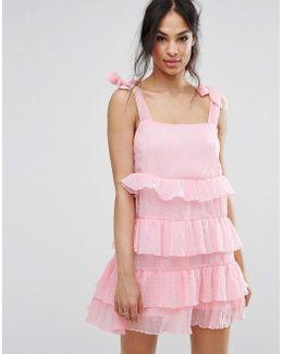 Tie Shoulder Tiered Ruffle Dress