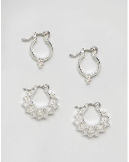 Pack Of 2 Mini Festival Hoop Earrings